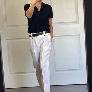 J Crew White 100% Linen Pant size 00P